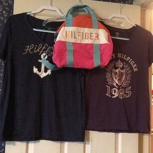 Hilfiger Colorful Duffel Bag and Tee Shirts